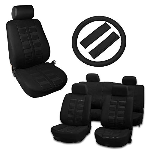 Volvo 940 Seat Belt - OCPTY Car Seat Cover, Stretchy Universal Seat Cushion W/Headrest Cover/Steering Wheel Cover/Belt Pad 100% Breathable Automotive Accessories Durable Polyester for Most Cars(Black)