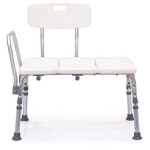 Best Choice Products Adjustable Non-Slip Bathroom Shower Bench Stool Chair (White)