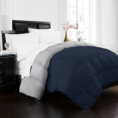 Beckham Hotel Collection 1700 Series Luxury Goose Down Alternative Reversible Comforter - Premium Hypoallergenic - All Season - Duvet - Full/Queen - Navy/Sleet - bedroomdesign.us