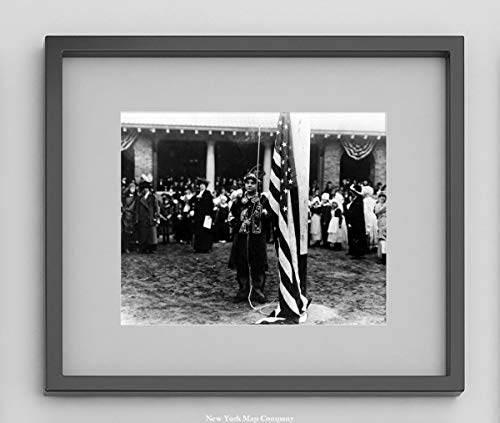 Child Dressed in Native American Clothing Raising US Flag in New York City Park|1919 Black & White Photograph|8x10 - Ready to Frame