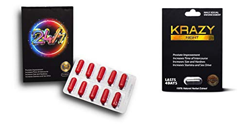 Twenty Four Seven 24/7 Red 10 Capsules Plus Krazy Night Black 1 Pill Fast Acting Male Amplifier for Strength, Performance, Energy, and Endurance (247Red10cap KrazBK 1pill)