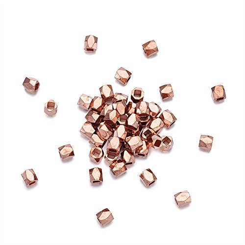 Pandahall 50pcs 3x3mm Faceted Spacer Column Beads Rose Gold Hole: 1.5mm for DIY Jewelry (Bali Style Barrel)