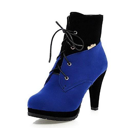AllhqFashion Damen Mattglasbirne Rund Zehe Gemischte Farbe Niedrig-Spitze Stiefel Blau