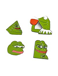 4 Pieces Smug Sad Pepe The Frog Pins Internet Meme Lapel Pin Set