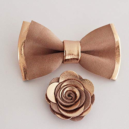 a268cf570899 Dusty pink and Rose gold bow tie and lapel flower set for men,rose gold  boutonniere, pretied genuine leather bowtie, wedding prom boys, lapel  flower, ...