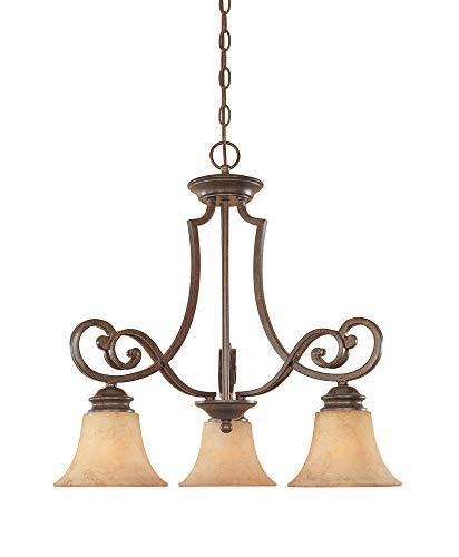 Designers Fountain 81883-FSN 3-Light Down Chandelier, Forged Sienna Finish with Warm Amber Glaze Glass