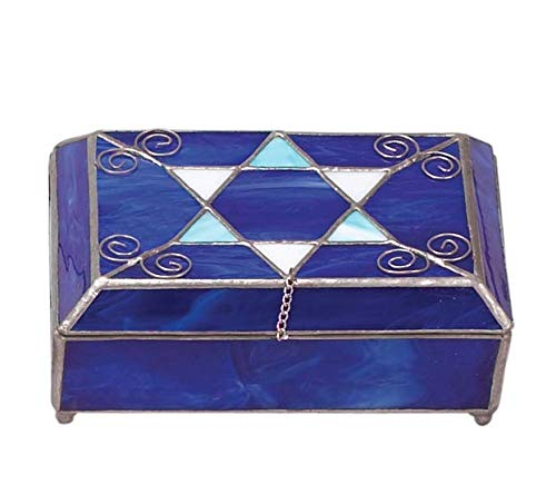 Judaica Star of David Blue Stained Glass Jewelry -