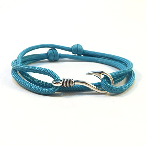 Handmade Solid Color Paracord Bracelet with Fish Hook (Neon Turquoise) ()