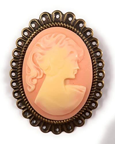 Handmade pin Large Cameo Brooch Pink & Ivory Blackenedruby Jewelry