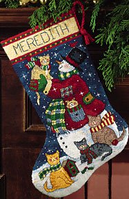 Dimensions Snowman And Kitties Stocking Needlepoint Kit