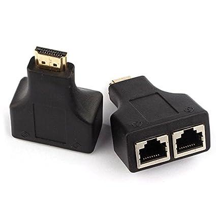 TOOGOO(R) 1 par HDMI turno RJ45 neto linea prolongar 30 metros amplificador 1080P