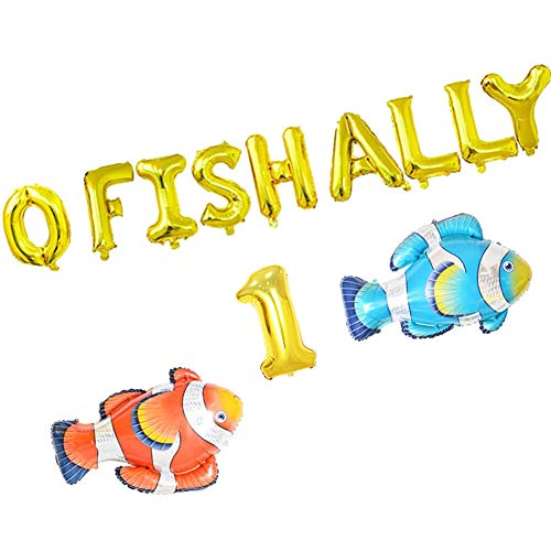 O Fish Ally One Balloons, Gone Fishing First Birthday Party Banner, Little Fisherman the Big One Fishing 1st Birthday Party Supplies - Party 1st Birthday Balloon
