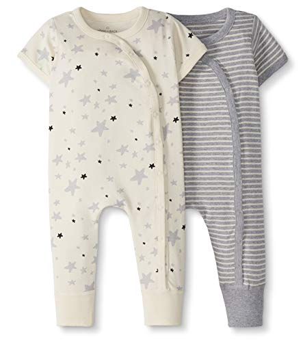 Moon and Back by Hanna Andersson Baby 2-Pack One-Piece Organic Cotton Short Sleeve Romper, Gray, 3-6 months