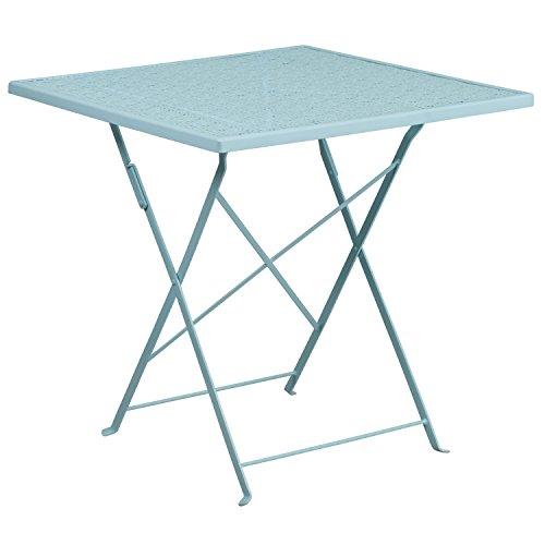 Flash Furniture CO-1-SKY-GG Metal 28SQ Sky Folding Patio Table, Blue ()