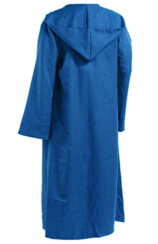 Blue Robe Hooded (Men TUNIC Hooded Robe Cloak Knight Fancy Cool Cosplay Costume blue XXL)