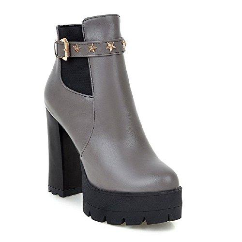 VogueZone009 Damen Weiches Material Niedrig-Spitze Eingelegt Reißverschluss Stiefel, Silber, 36