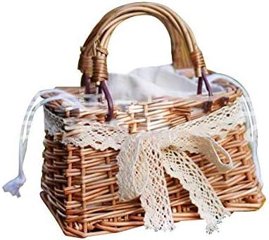Storage Baskets Mini Basket Bag for Children Hand-Woven Fashion Kids Mini Handbag Suitable for for Girls Aged 2-12 21x13x14cm