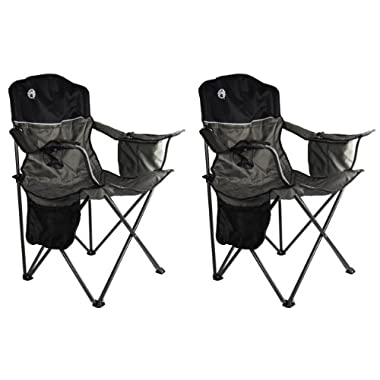 2 Coleman Camping Outdoor Oversized Quad Chairs/Coolers (Pair)