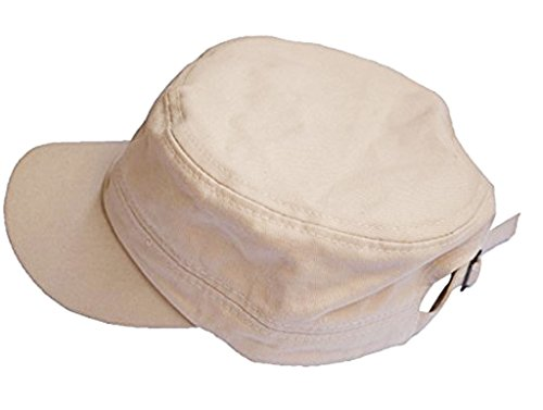 Vivoice Fashionable Solid Color Unisex Flat Top Army Style Cadet Cap with Adjustable Strap (Beige)