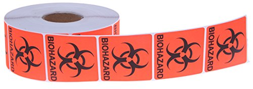 Biohazard Sticker - Juvale 1000 Count Bio-Hazard Warning Sticker - Red, Black Adhesive Warning Labels with Biological Hazard Symbol - 2