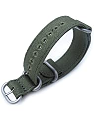 20mm MiLTAT Canvas G10 Thick ZULU Watch Band, Lockstitch Hole, Forest Green, Brushed