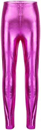 8860a1979 Yeahdor Girls Kids High Waisted Shiny Metallic Dance Gymnastic Leggings  Stretch Footless Tights Long Pants