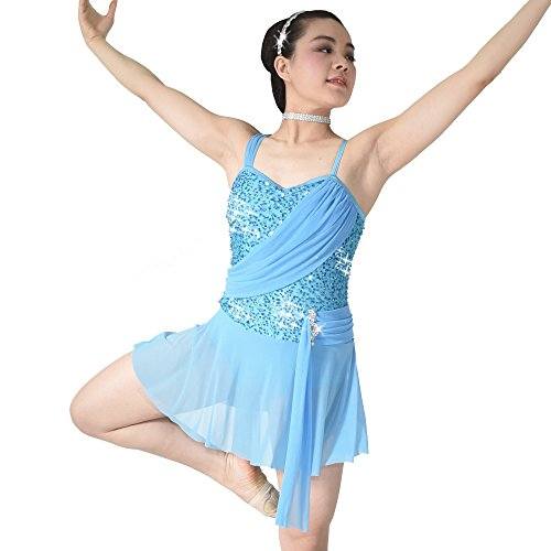 MiDee Sequins Sweetheart Camisole Lyrical Dress Dance Costume (SA, Blue) (Dance Costumes For Competition Lyrical)