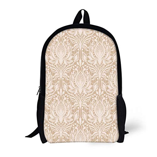 Pinbeam Backpack Travel Daypack Beige Delicate Lace Pattern in Vintage Drawing Elegance Waterproof School Bag ()