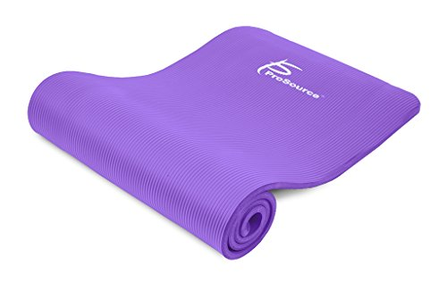 ProSource Premium 1/2 Inch Extra Thick 71 Inch Long High Density Exercise Yoga Mat with Comfort Foam and Carrying Straps, Purple, Frustration Free Packaging
