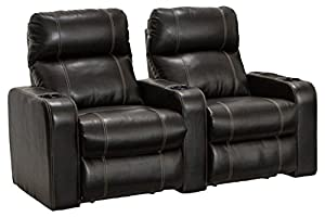 Lane dynasty black bonded leather home theater seating row of 2 seats power Home theater furniture amazon