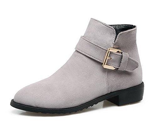 AgooLar Damen Blend-Materialien Mittler Absatz Rund Zehe Rein Reißverschluss Stiefel, Grau, 37