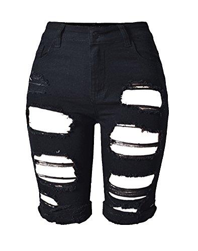 Tribear Women's Summer Ripped Hole High Waist Casual Short Jeans 44(US12,Black)