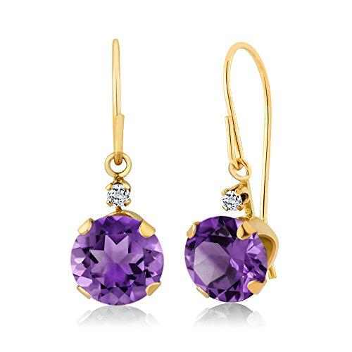 Yellow Gold Amethyst Earrings - 6