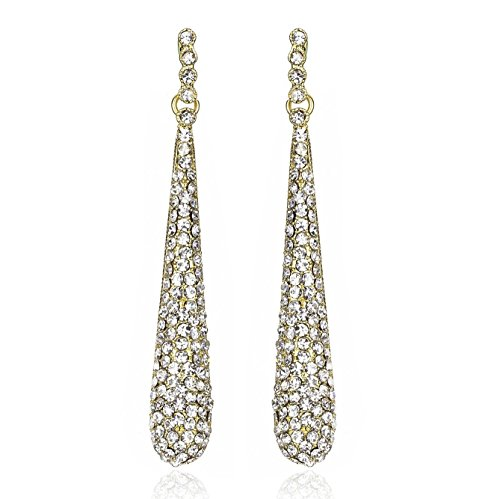 JANEFASHIONS GOLD AUSTRIAN CRYSTAL RHINESTONE DROP CHANDELIER DANGLE EARRINGS BRIDAL E2094G - Austrian Crystal Chandelier Earrings Jewelry