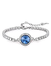 b2c44390e95 Kemstone Luxury Silver Tone Iridescent Crystal Tennis Bracelet for Women  Girls, Crystal from Swarovski