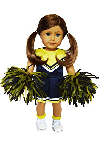 My Brittany's Blue-Yellow Cheerleader Outfit with Real Pom Poms for American Girl Dolls- 18 Inch Doll Clothes (Blue And Yellow Cheerleader Outfit)