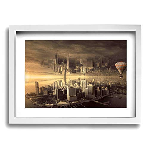 - Rolandrace12x16 Inch Picture Frame Fantasy City Architecture Mood Skyline Composing- Photo Paintings Modern,Wall Art Abstract Artworks