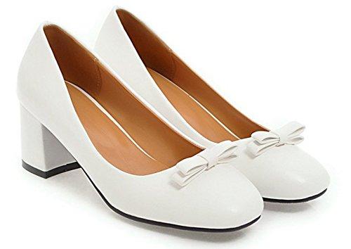 Aisun Blanc Noeud Escarpins Carré Classique Bout Princesse Femme vw0rqv