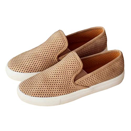 (Womens Perforated Slip on Sneakers Flatform Loafers Comfort Flats Walking Shoes)
