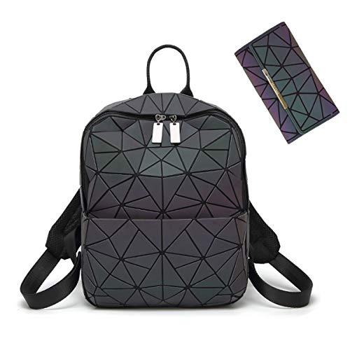 Hot One Farbänderungen Geometrische Leuchtende Geldbörsen und Handtaschen Holographic Purse Reflective Purse Fashion Rucksäcke (Nr.3+Knopf Brieftasche)