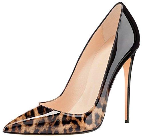 4 Womens High Pointed Pumps 12cm Dress Heel Pumps 72in Patent Leopard Wedding Classic Toe Eldof Black Party Stilettos pdX5qBWcd