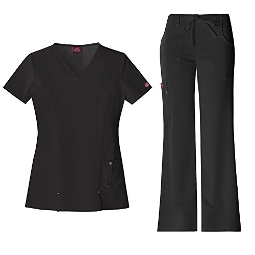 Ladies Eyelet String Top - Dickies Xtreme Stretch Women's V-Neck Scrub Top 82851 & The Extreme Stretch Drawstring Scrub Pants 82011 Medical Scrub Set (Black - X-Small/XSmall Petite)