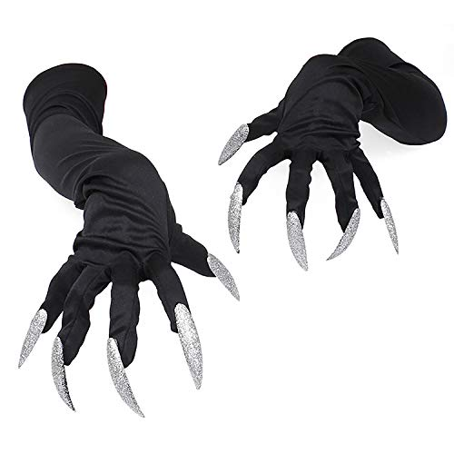 Halloween Costume Gloves with Nails Halloween Props Black Long Fingernail Gloves]()