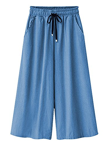 OCHENTA Women's Elastic Waist Wide Leg Drawstring Jeans Culottes Pants Three Quarter Light Blue US 14 - Tag 6XL