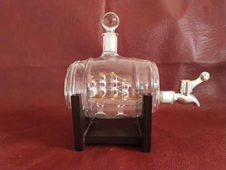 N/P Built-in Sailing Craft Glass Wine Bottle, Faucet Wine Barrel, Hollow Bottle Shape, Decanter