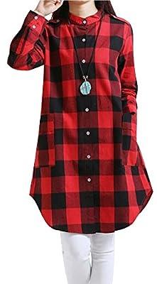 Wearlove Women's Casual Long Sleeve Button Up Pocket Plaid Tunic T shirt Dress