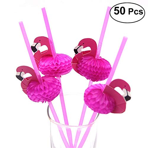 Disposable Party Tableware - 50pcs Cute 3d Flamingos Straw Flexible Plastic Drinking Straws Birthday Wedding Baby Shower Pool - Tableware Party Disposable