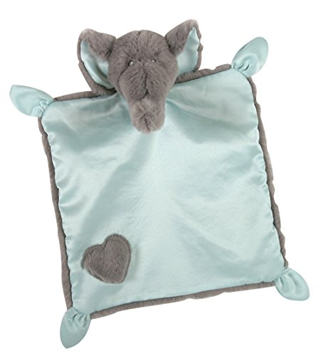 Stephan Baby Square Satin-Backed Plush Elephant Security Blanket, Gray/Blue, 10