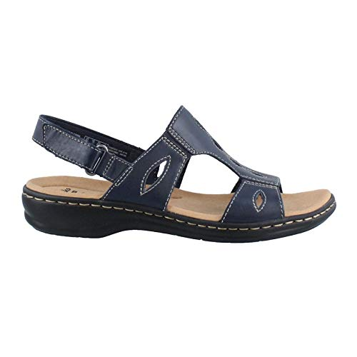 CLARKS Women's Leisa Lakelyn Flat Sandal, Navy Leather, 8.5 N US -