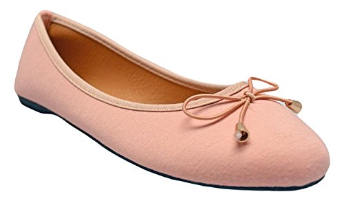 Faux W Canvas Comfortable Shoes Pink Slip Vegan On Flats Jersey Basic Tie Ballet Leather Womens Bow Soft Dress 1wZtRxgH